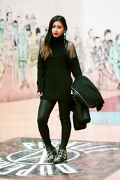 rosa pel's blog,jewels,shoes,sweater,cut-out shoulder sweater,leggings,black leggings,leather leggings,boots,buckle boots,flat boots,ankle boots,black boots,black sweater,coat,black coat,all black everything