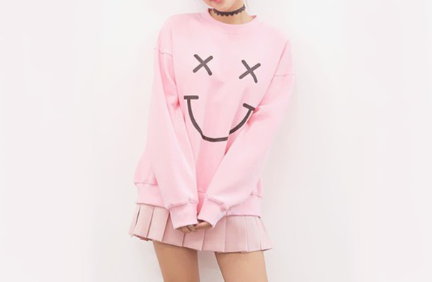sweater cute brand pastel pink smile lovely kawaii sweatshirt pastel goth hipster hippie hippie chic chic sweater weather winter sweater
