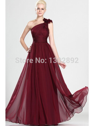 one shoulder long prom dress chiffon party dresses ruffles prom gown a-line dresses