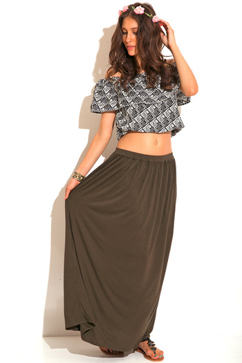 Penny stock army green maxi skirt