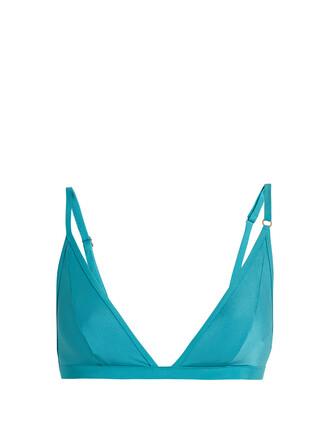 bikini bikini top triangle bikini triangle love turquoise swimwear
