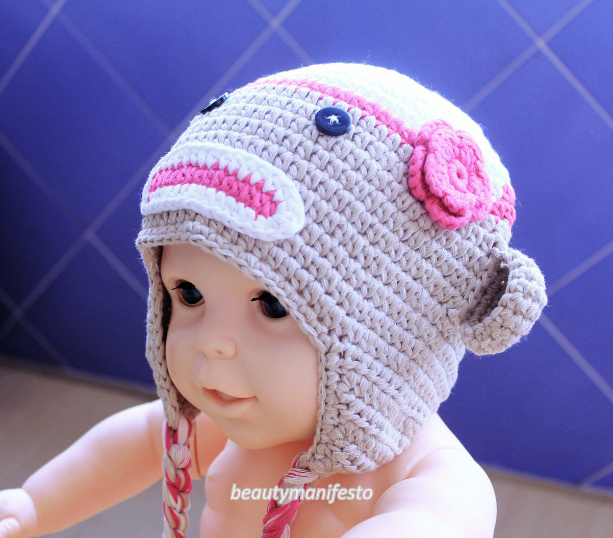 Gray and Pink Sock Monkey Hat,Baby Girl Winter Hat,Crochet Hat, 0 to 3  Month Photo Prop,Toddler Sock Monkey Hat