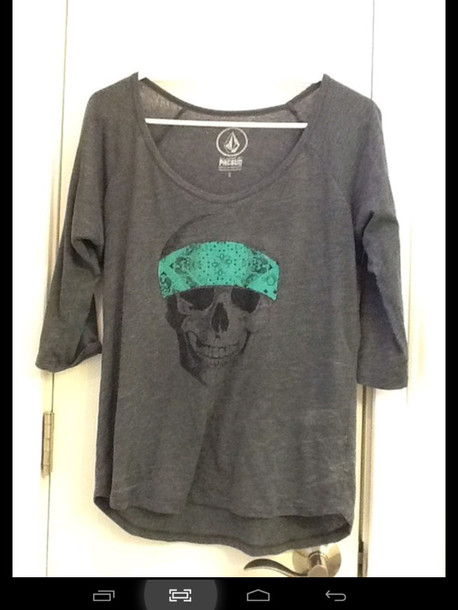 t-shirt skull bandana grey t-shirt