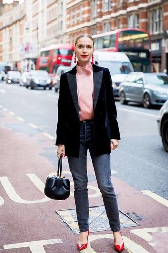 jeans black jeans blazer black blazer top pink top pumps high heel pumps work outfits