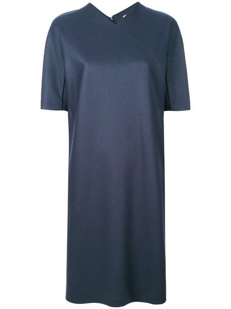 Jil Sander dress shift dress women blue silk wool