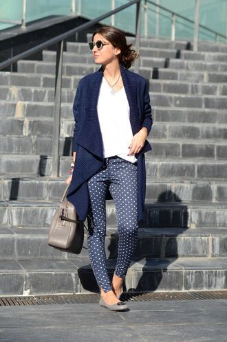 pants polka dot pants blue pants white top cardigan long cardigan flats ballet flats bag grey bag sunglasses lovely pepa blogger