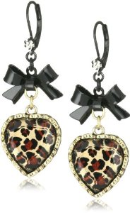 Amazon.com: Betsey Johnson Crystal Leopard Heart and Black Bow Drop Earrings: Jewelry