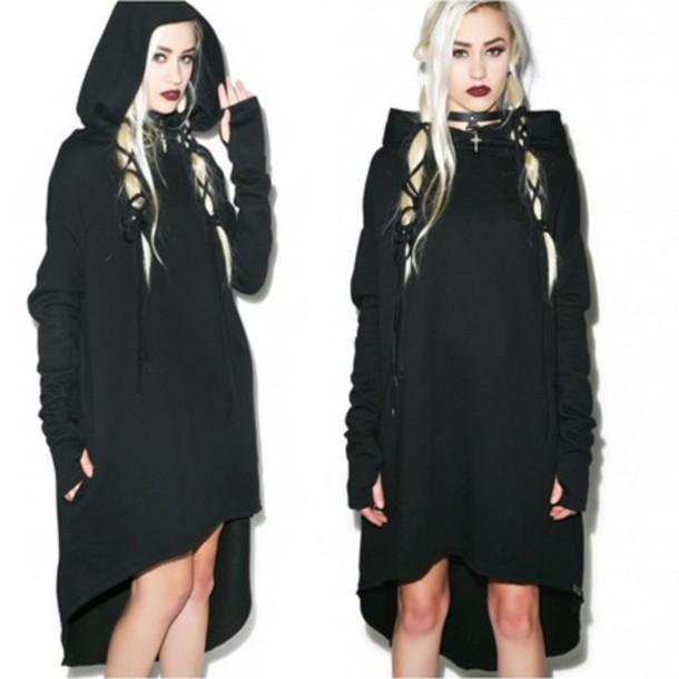 dress black black dress goth hoodie hoodie dress