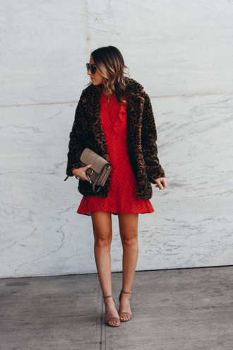 twenties girl style blogger dress coat shoes sunglasses bag animal print winter outfits red dress winter coat crochet dress sandals faux fur coat