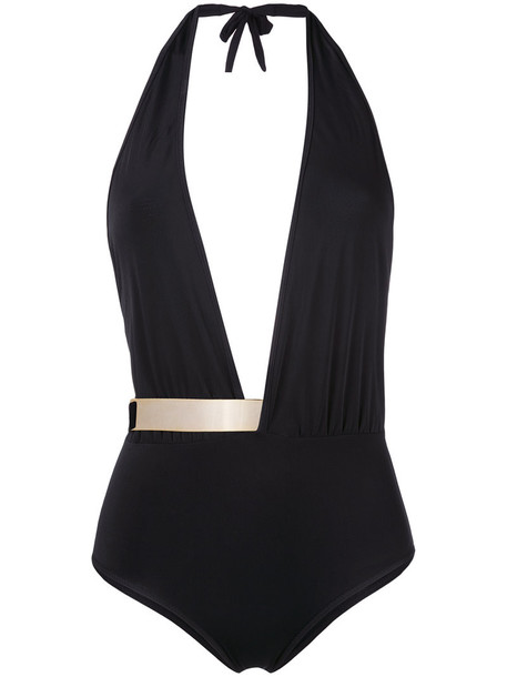 MOEVA metallic women spandex black swimwear