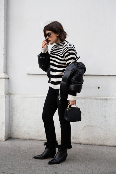 viennawedekind blogger jeans shoes sweater tumblr stripes striped sweater pants black pants boots black boots jacket down jacket black jacket sunglasses bag handbag