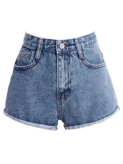 Denim shorts with rolled hem