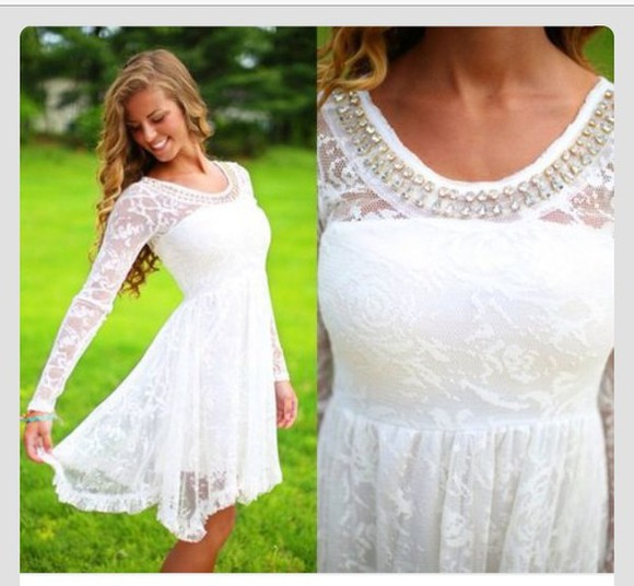 dress white dress short dress lace dress beeding