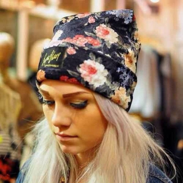 hat floral beanie cute flower beanie black pink cute