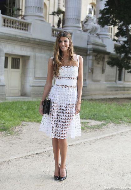 dress, eyelet dress, white dress, midi