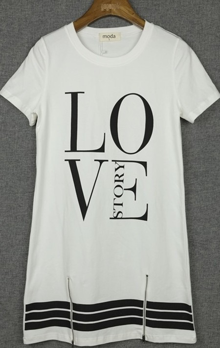 Ladies Printed Letter T-Shirt Style Dress