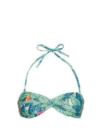 bikini bikini top bandeau bikini print green swimwear