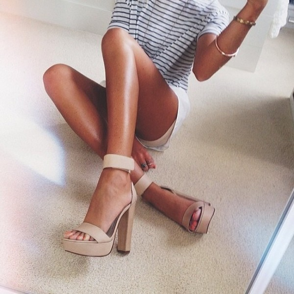 striped top platform shoes nude high heels beige white shorts bracelets jewels ankle strap heels bag swag shoes nude open heels
