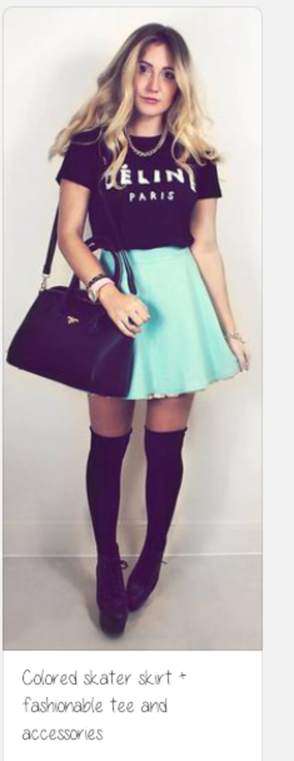 t-shirt skater skirt knee high socks teal skirt paris shirt