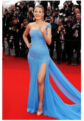dress slit dress gown prom dress long prom dress blue sparkly dress blake lively red carpet dress cannes bustier dress