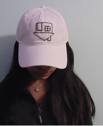 hat trendy grunge baseball cap white black black and white