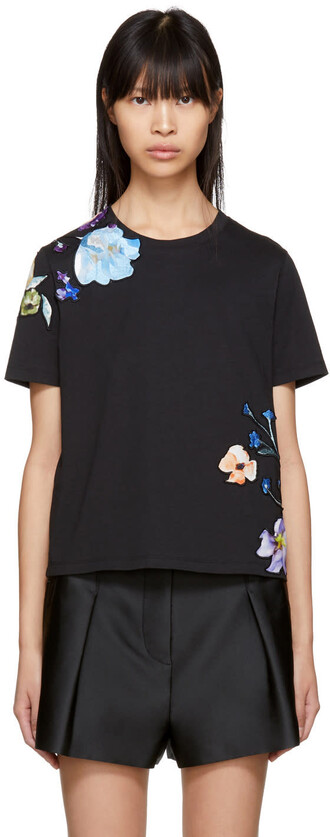 t-shirt shirt floral black top