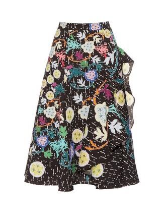 skirt midi skirt midi japanese floral print black