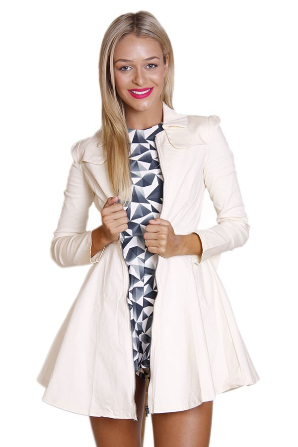 Cream Bow Back Trench Coat