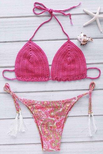 swimwear crochet bikini fashion style trendy pattern girly pink gamiss