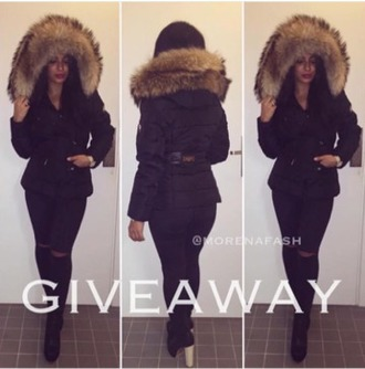 jacket big fur black black jacket winter jacket fur faux black jacket coat fur down jacket stylish style most have need it now i really need it help me pla where is it from