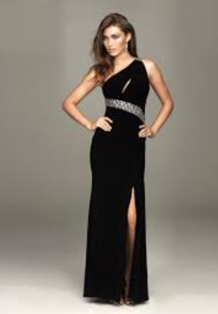 Dress Black Dress One Side Strap Black Gown Black Jewels