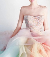 dress,pastel,prom,rainbow,wedding,cute