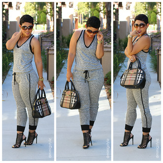 jumpsuit romper cloth clothes grey burberry