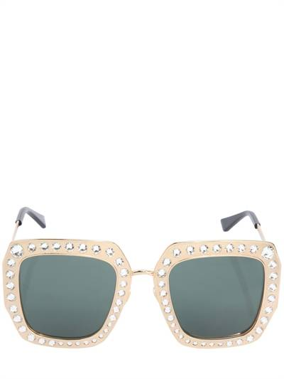 GUCCI, Square crystals & metal frame sunglasses, Gold, Luisaviaroma