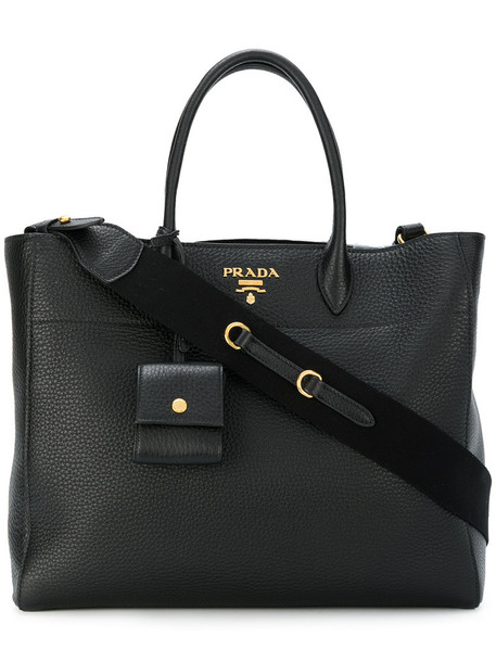 Prada - Vitello Daino shopping tote - women - Calf Leather - One Size, Black, Calf Leather