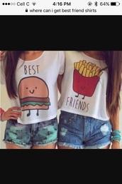 shirt,top,bff,crop tops,burger and fries,hamburger,fries,best friends shirts,t-shirt