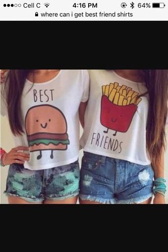 shirt top bff crop tops burger and fries hamburger fries best friends shirts t-shirt