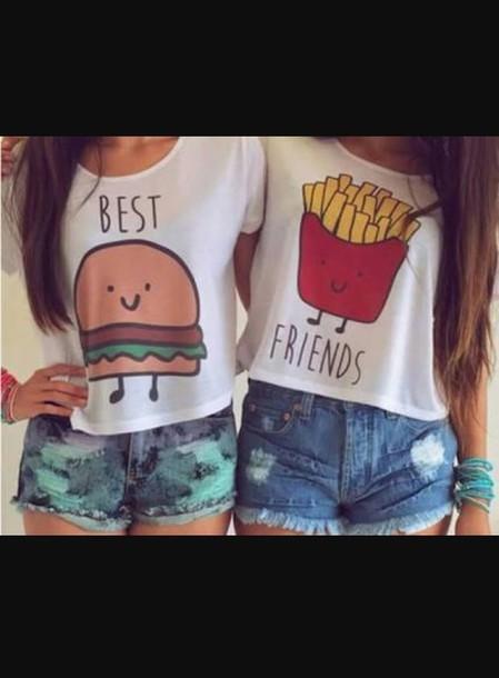 shirt top bff crop tops burger and fries hamburger fries best friends shirts bff t-shirt