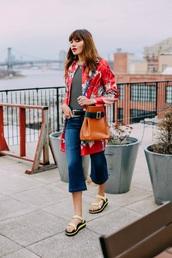 natalie off duty,blogger,shoes,jacket,jeans,top,bag,slide shoes,floral coat,cropped jeans,kick flare,cropped bootcut jeans,cropped bootcut blue jeans