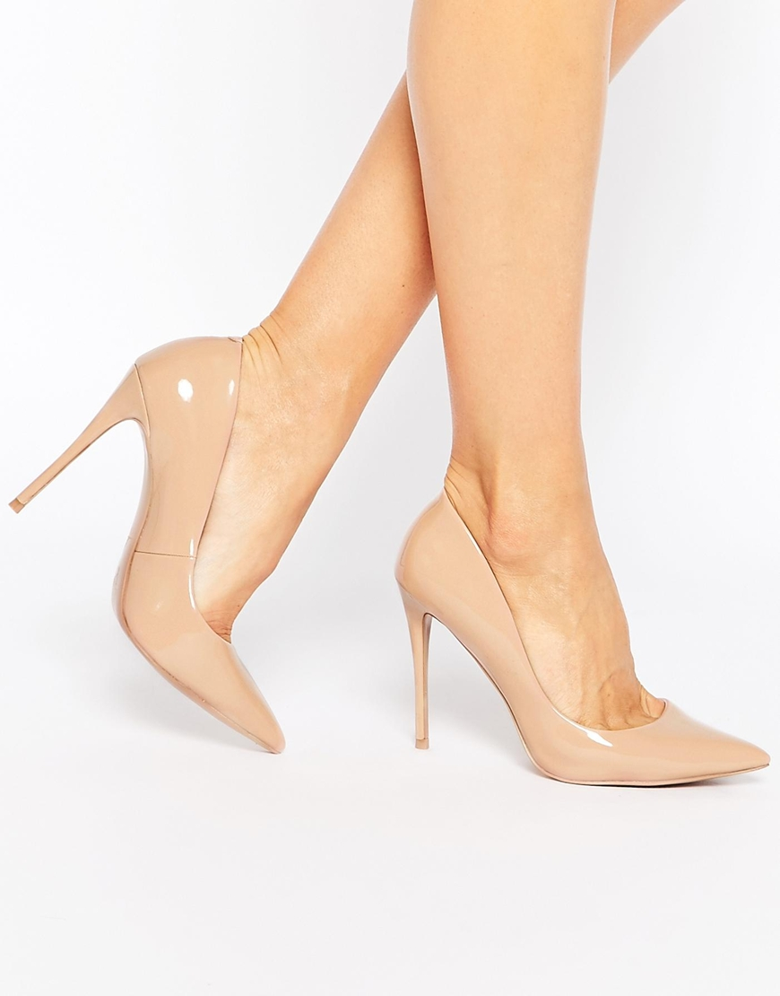 ALDO Stessy Pale Pink Leather Heeled Court Shoes at asos.com