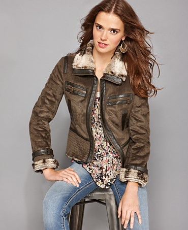 Steve Madden Jacket, Aviator Faux Shearling - Coats - Juniors -  Macy's