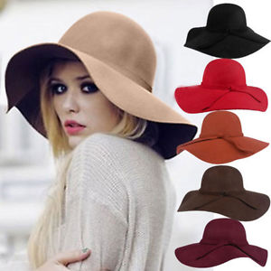 New Style Soft Women Vintage Wide Brim Wool Felt Bowler Fedora Hat Floppy Cloche