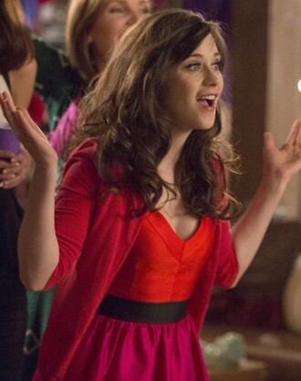 dress new girl red pink zooey deschanel