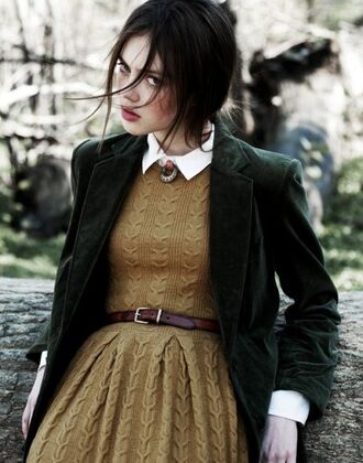 velvet velvet jacket winter dress brunette blazer forest green knitted dress preppy