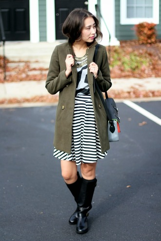 different cands blogger coat khaki winter boots black boots striped skirt necklace grey t-shirt