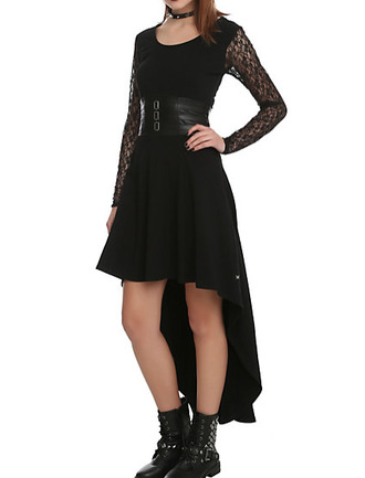 lace sleeves high low goth gothic grunge nu goth jewels