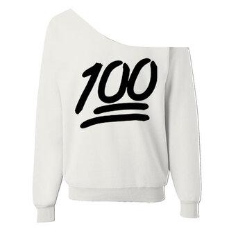 sweater emoji shirt 100 one shoulder white oversized sweater