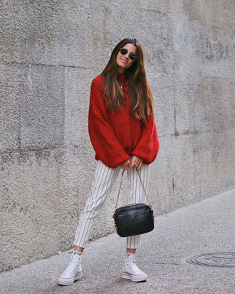 sweater tumblr red sweater sweater weather knit knitwear knitted sweater pants stripes striped pants white sneakers sneakers bag black bag