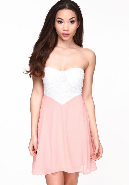 Lace bustier chiffon dress