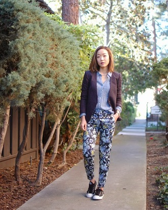 monkeyshines blogger printed pants floral striped jacket blue shirt office outfits blazer